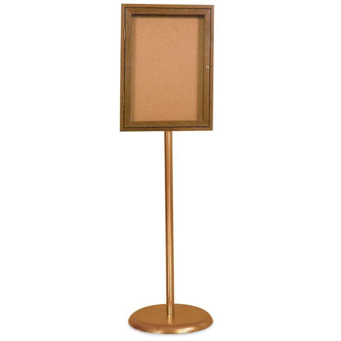 Gold Base/ Wood Frame Pedestal Corkboard | United Visual Products